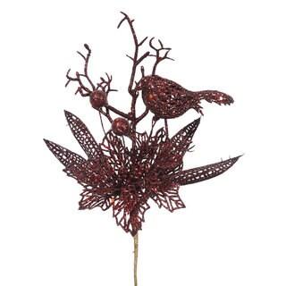 Vickerman Burgundy Glitter 13-inch Poinsettia Bird Pick (Pack of 12)