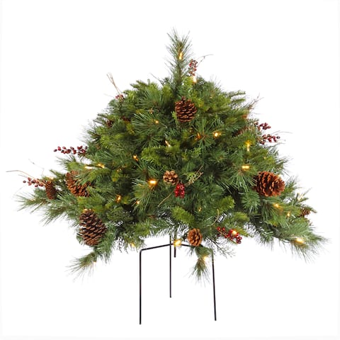 Vickerman Cibola Mixed Berry 2-foot Artifical Christmas Bush With 100 Warm White LED Lights