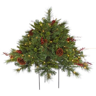 Vickerman Cibola Green Plastic 2-foot Mixed Berry Artificial Christmas Bush with 100 Clear Lights