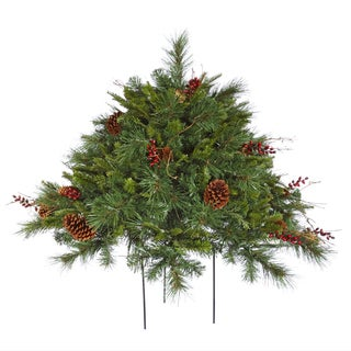 Cibola Green Plastic 2-foot Mixed Berry Christmas Bush Unit