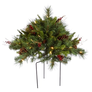 Vickerman Green Plastic 36-inch x 36-inch x 18-inch Cibola Mixed Berry Artificial Christmas Bush With 50 Warm White LED Lights