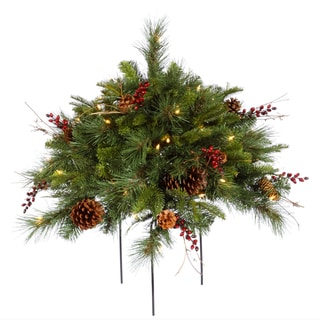 Vickerman Cibola Green Plastic 1.5-foot Mixed Berry Artificial Christmas Bush with 50 Clear Lights