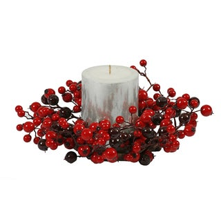 Vickerman Red Plastic 10-inch Mixed Berry Candle Ring