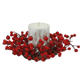 Vickerman Red Plastic/Styrafoam 10-inch Mixed Berry Candle Ring