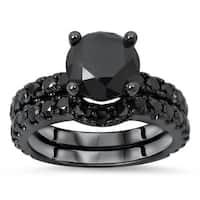 Noori 14K Black Rhodium Gold 2 3/4ct TDW Black Round Diamond 2-piece Bridal Set - White