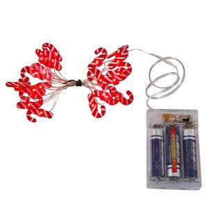 Vickerman Red and White Candy Cane 20 LED Light Set on Copper Wire