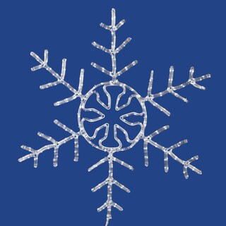 Vickerman White Plastic 60-inch Forked Snowflake Christmas Ornament with 400 LED Lights