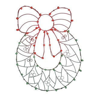 Vickerman Multicolor 48-inch x 36-inch Metal Wreath N' Bow Wire Motif with Lights