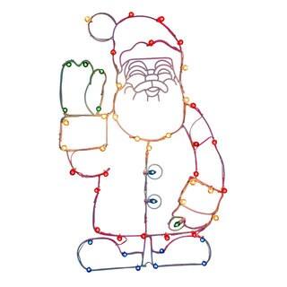 Vickerman Waving Santa Multicolored Wire/Metal 48-inch x 30-inch Christmas Decor with C7 Lights