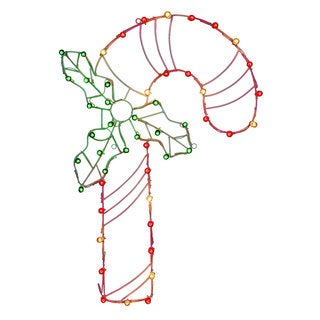Wire Candy Cane 48-inch x 32-inch Motif With C7 Lights
