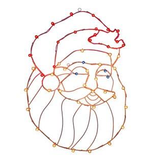 Vickerman Santa Head Multicolor Metal 48-inch x 34-inch Wire Motif with C7 Lights