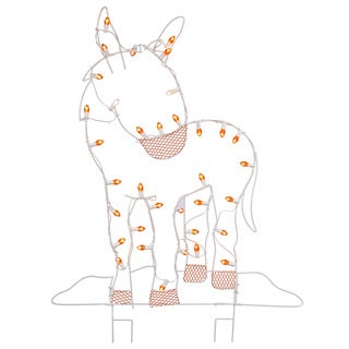 47-inches x 31-inches Wire Donkey Silhouette with C7 Lights