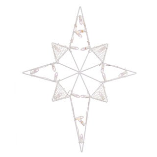 Vickerman White Metal 39-inch x 30-inch Wire Star of Bethlehem Silhouette with Lights