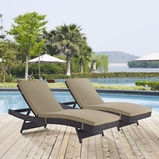 Modway Gather Synthetic Rattan Weave Outdoor Chaise Lounges (Set of 2)
