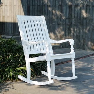 Cambridge Casual Lyon Mahogany Porch Rocking Chair - White
