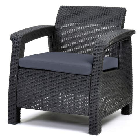 Quintana Charcoal All-Weather Outdoor Patio Armchair with Cushions by Havenside Home