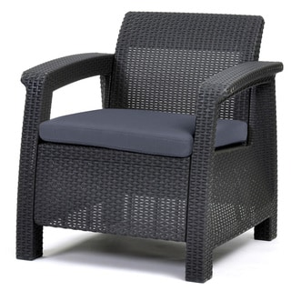 Havenside Home Quintana Charcoal All-Weather Outdoor Patio Armchair with Cushions