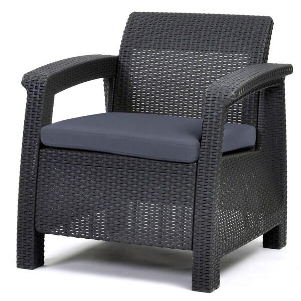 Garden Furniture All Weather keter corfu charcoal all-weather outdoor garden patio armchair