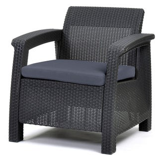 Porch & Den Deanwood Meade Charcoal All-Weather Outdoor Patio Armchair with Cushions