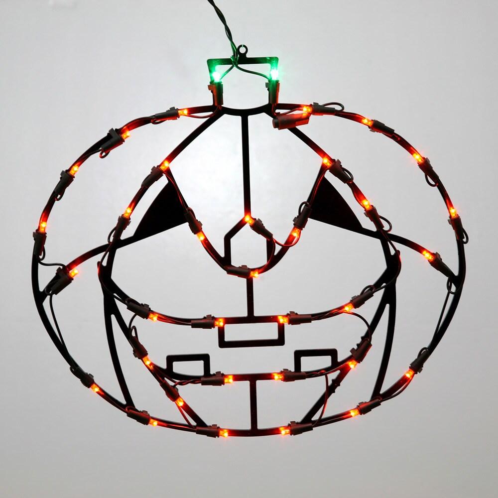 Vickerman Orange Metal 16-inch x 14-inch LED Pumpkin Wire...