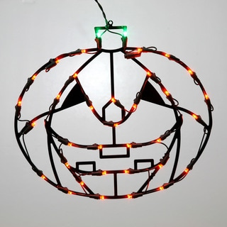 Vickerman Orange Metal 16-inch x 14-inch LED Pumpkin Wire Window Decor