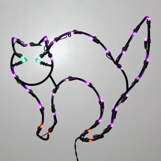 Vickerman Cat 16-inch x 14-inch LED Window Decor