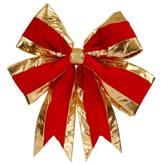 Vickerman Red Velvet 24-inch x 30-inch Structured Bow With Gold Plastic Trim