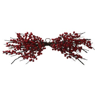 Vickerman Red Plastic 30-inch Weather-resistant Wild Berry Christmas Decoration