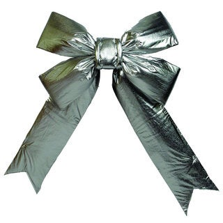 "24"" x 30"" Silver Lamé Indoor Commercial Christmas Bow"