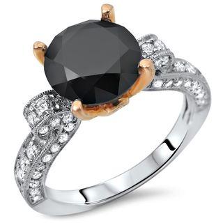 Noori 18k White Rose Gold 2 2/5ct TDW Certified Black Round-cut Diamond Engagement Ring