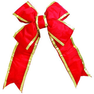 Vickerman Red and Gold Nylon 18-inch x 23-inch Outdoor Bow with 6-inch Ribbon