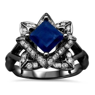 Noori 1 1/5ct TGW Blue Princess Cut Sapphire Diamond Lotus Flower Engagement Ring 14k Black Gold (SI1/SI2, G/H)