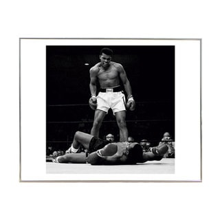 'Muhammad Ali vs Sonny Liston' 16-inch x 16-inch Print with Silver Metal Frame