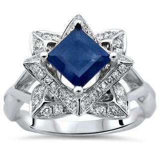Noori 14k White Gold 1 1/5ct TGW Blue Princess Cut Sapphire Diamond Lotus Flower Engagement Ring (SI1/SI2, G/H)
