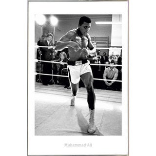 Muhammad Ali Training Print with Silver Metal Frame