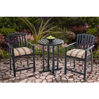 Berry Pointe Black Aluminum and Fabric High Bistro Set