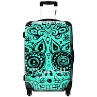 iKase Skull Head Blue 20-inch Graphic Hardside Carry-on Spinner Suitcase