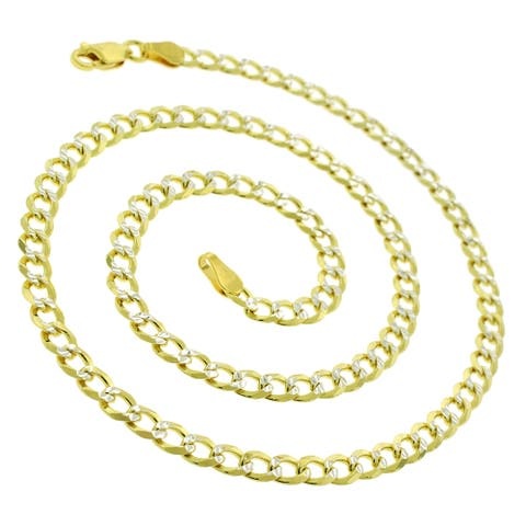 14K Yellow Gold Over Silver 4MM Cuban Curb Link Diamond-Cut Pave Two-Tone .925 ITProLux Necklace Chain, Made In Italy