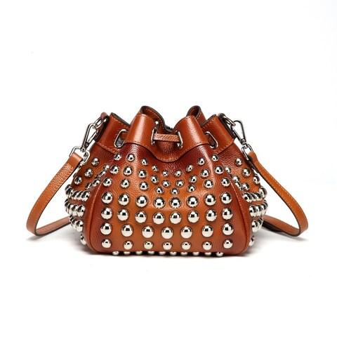 Vicenzo Leather Jewel Small Studded Bucket Bag