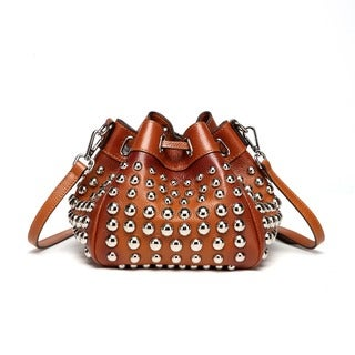 Vicenzo Leather Jewel Small Studded Bucket Bag (Option: Pink)