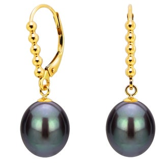 DaVonna 14k Yellow Gold 9-10mm Black Freshwater High Luster Long Shape Pearl Beaded Design Lever-back Earrings
