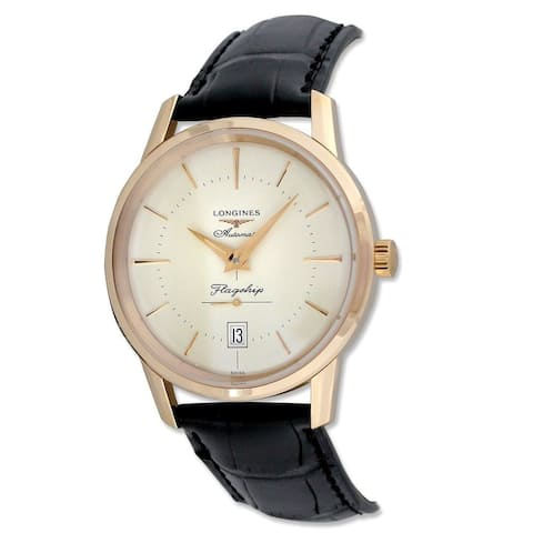 Longines Men's L47958782 18k Rose Gold Automatic Black Leather Watch