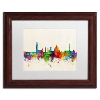 Michael Tompsett 'Florence Italy Skyline Beige' Matted Framed Art