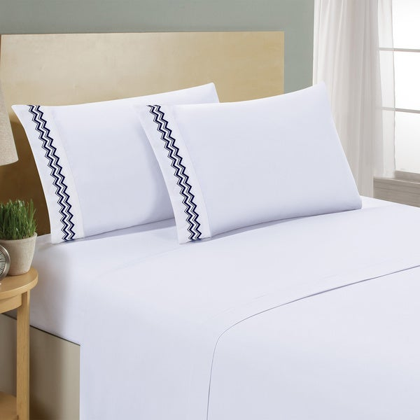 Swift Home Wrinkle-free Chevron Embroidered Sheet Set