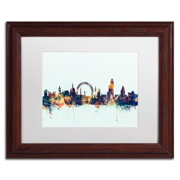 Michael Tompsett 'London England Skyline Blue 2' Matted Framed Art
