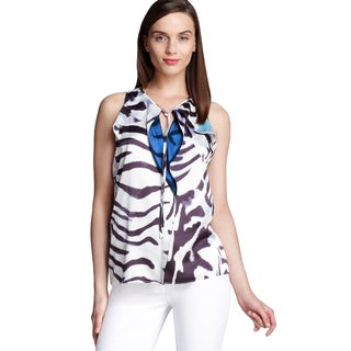 T Tahari Aileen Women's Multicolor Polyester Animal Print Size S Blouse