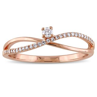 Miadora 14k Rose Gold 1/8ct TDW Diamond Promise Ring