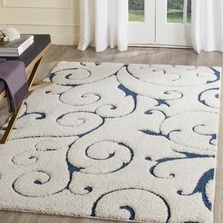 Safavieh Florida Shag Scrollwork Elegance Cream/ Blue Area Rug (9'6 x 13')