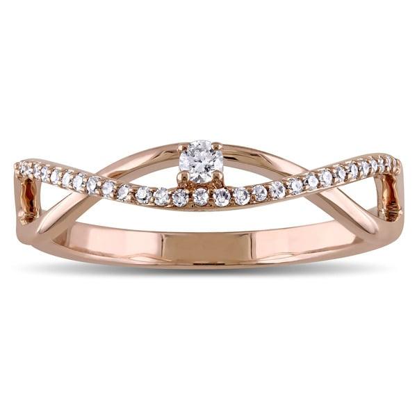 Miadora 14k Rose Gold 1/6ct TDW Diamond Twist Promise Ring