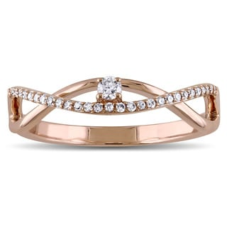Miadora 14k Rose Gold 1/6ct TDW Diamond Twist Promise Ring